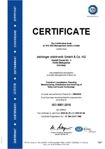 TÜV Zertifikat ISO 9001:2015 de