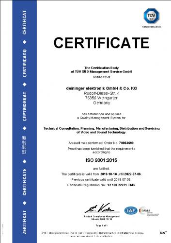 TÜV Zertifikat ISO 9001:2019 de